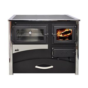 CONCEPT 2 AIR wood cook stove is designed for cooking baking and space heating. The Concept 2 Air is a solid fuel: dry wood, coal or briquettes burning cook stove. This Indoor cook stove gives the impression of a fireplace, thanks to the fireproof glass on the firebox door.